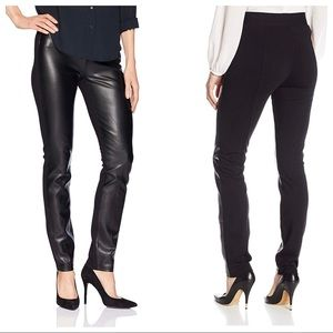 NYDJ Women's Black Ponte Faux Leather Legging Sz 8